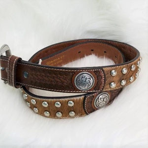 """Ariat Tooled Leather & Cowhide Belt w/Concho's 34"""""""